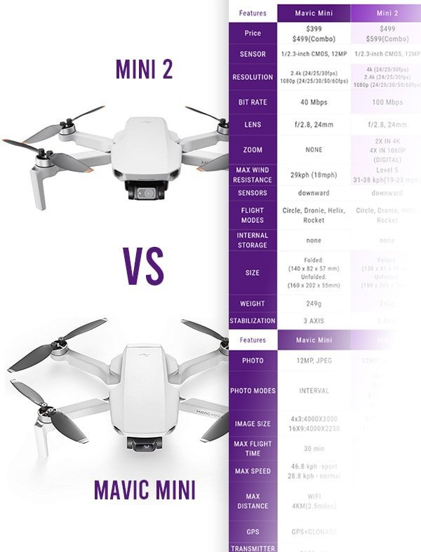 dji mini 2 vs mavic mini infographic table with specs