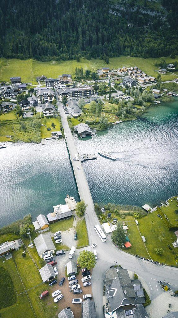 austrian lake drone photo