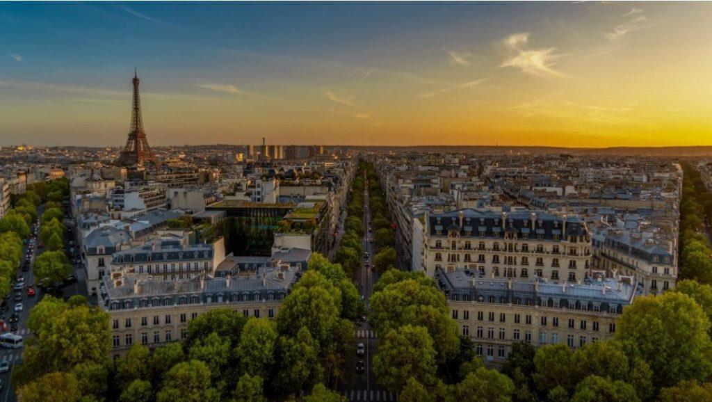 paris france drone shot