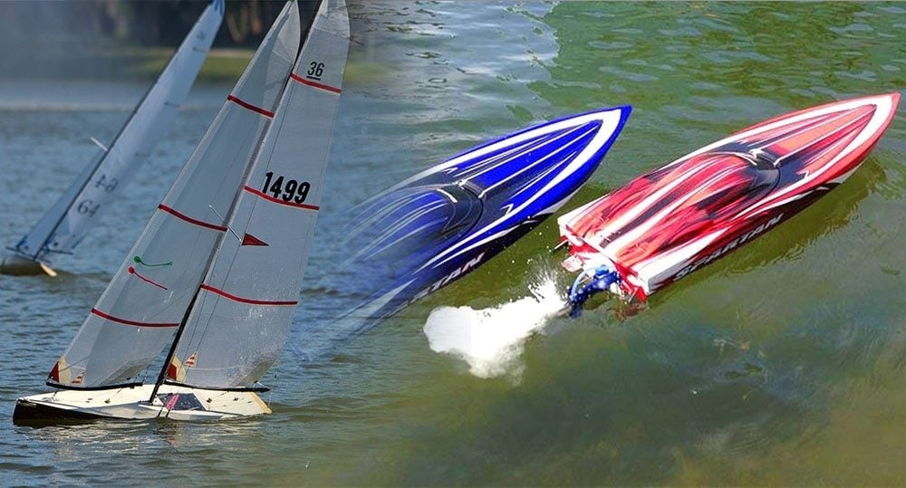 rc sailboats vs motorboat