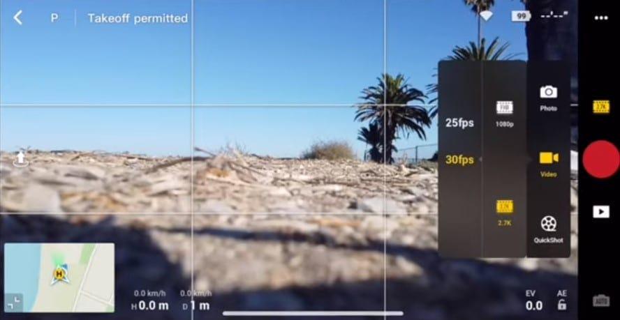 video settings and photo settings mavic mini