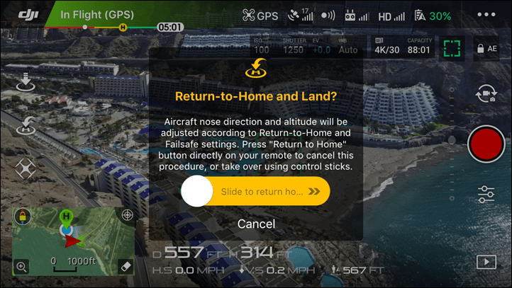 Return to home and land