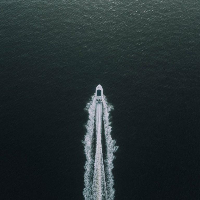 boat drone shot