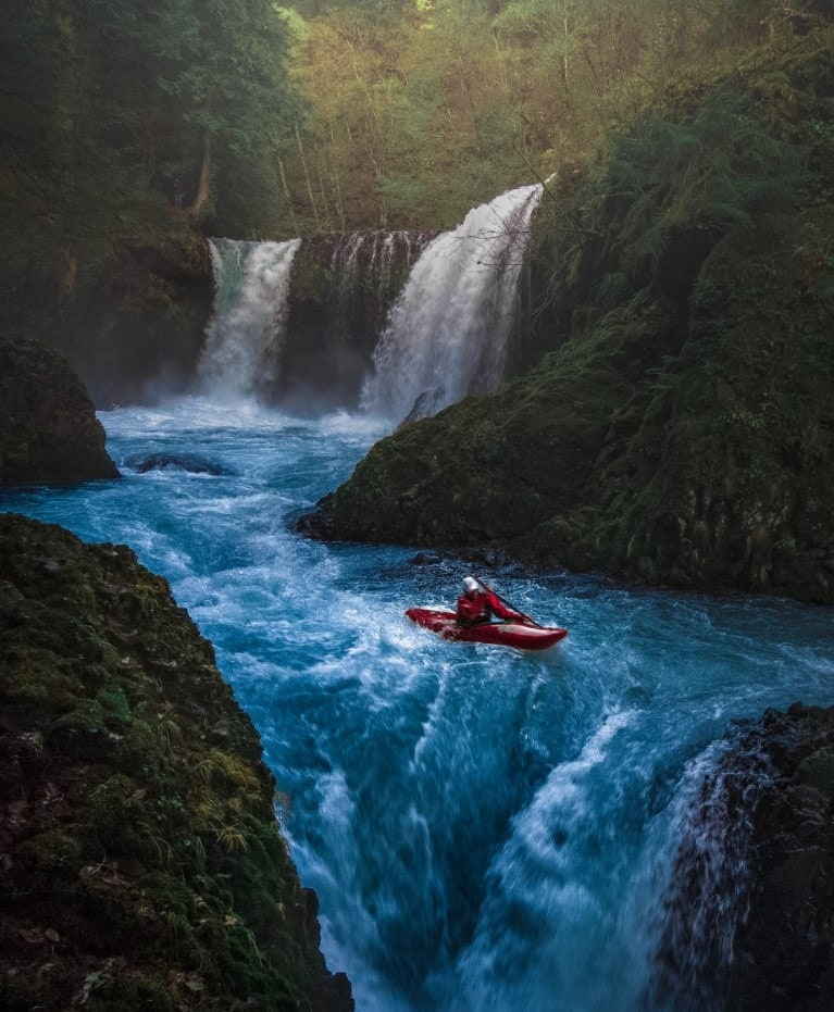 kayak drone shot