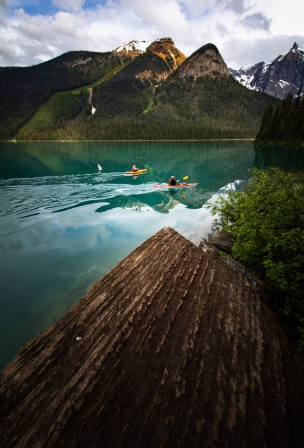 kayak from shore by drone