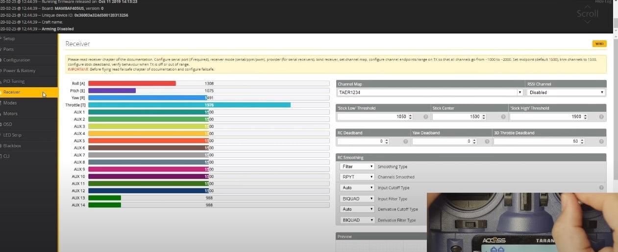 roll pitch yaw throttle settings in betaflight