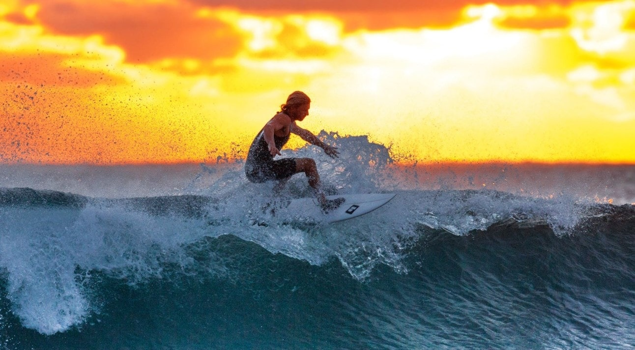 surfing drone shot
