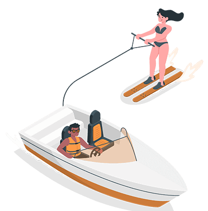 water skiing boating with a drone graphic